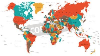 Fototapet Grön Röd Gul Brun World Map - gränser, länder och städer - illustration