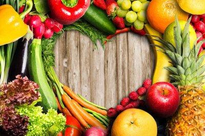 Fototapet Grönsaker och frukt Heart Shaped