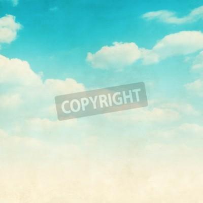 Fototapet Grunge bild av blå himmel med moln.