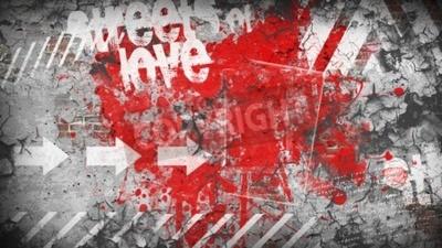 Fototapet Grunge färgstark bakgrund. Kärleksgatan
