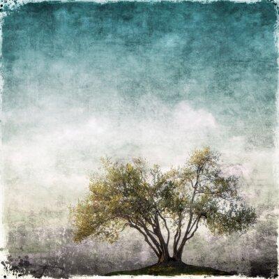 Fototapet Grunge landskap med enstaka träd