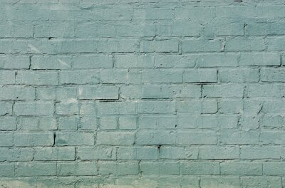 Fototapet grunge tegelvägg bakgrund med blå färg