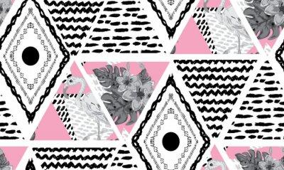 Fototapet grunge tropiskt sömlöst mönster