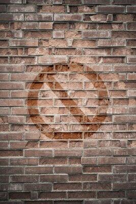 Fototapet Grungy stads- vägg med förbjudna tecken