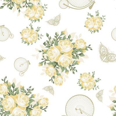 Fototapet Gula blommor, fjärilar och cyklar Seamless mönster