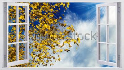 Fototapet Gula höstlöv på himlen