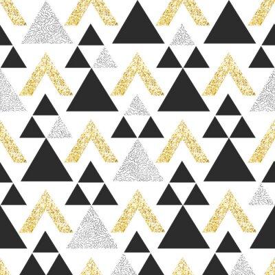 Fototapet Guld geometriska triangel bakgrund. Seamless mönster med trianglar i guld och mörkgrått.