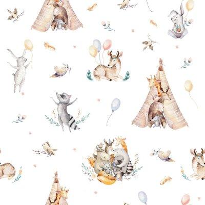 Fototapet Gullig familj baby raccon, hjort och kanin. djurkammare giraff, och bära isolerad illustration. Akvarell boho raccon ritning plantans sömlösa mönster. Barn bakgrund, plantskola tryck