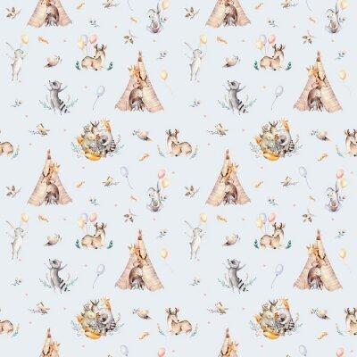 Fototapet Gullig familj baby raccon, hjort och kanin. djurkammare giraff, och bära isolerad illustration. Barn bakgrund, plantskola tryck