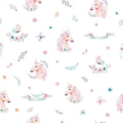 Fototapet Gullig vattenfärg enhörning sömlös mönster med blommor. Nursery magic enhörning mönster. Prinsessan regnbåge konsistens. Trendig rosa tecknad pony häst.