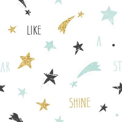 Fototapet Gulliga roliga seamless bakgrund med handritad stjärnor och inspirerande handskrivna citat Shine som en stjärna. Glitter, pastell blå och svart gnistrar isolerade på vitt.