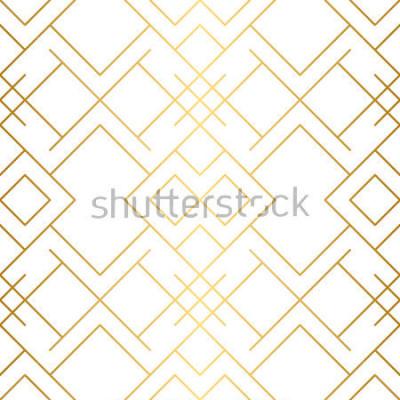 Fototapet Gyllene konsistens. Seamless geometriska mönster. Gyllene bakgrund. Vektor sömlöst mönster. Geometrisk bakgrund med rhombus och noder. Abstrakt geometriskt mönster.