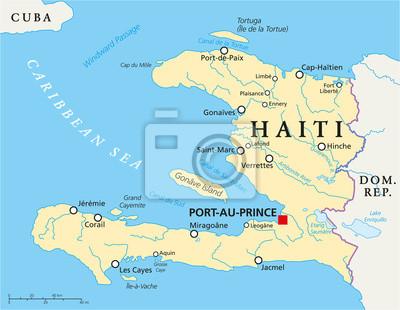 Haiti Political Map Fototapet Fototapeter Antilles Samvalde