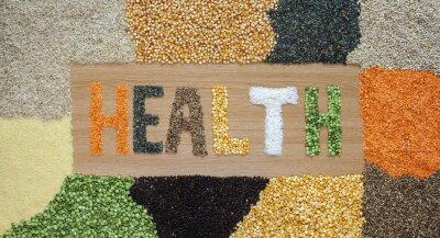 Fototapet Hälsa och hälsokost - korn, frön, baljväxter, ris - ekologiskt.