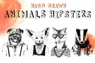 Fototapet Hand dras djur hipsters inställd