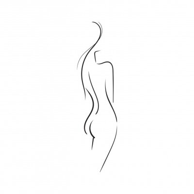 Fototapet Hand-drawn Beautiful nude  young woman isolated on white background.Line illustration.Beauty Logo.Stock vector illustration.