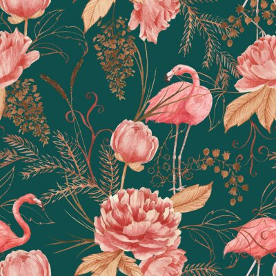 Fototapet Hand drawn watercolor seamless pattern with pink flamingo, peony and decorative plants. Repeat background illustration