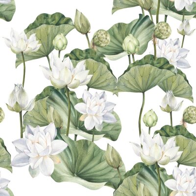 Fototapet Hand drawn watercolor seamless pattern with white lotus flowers and lotus leaf