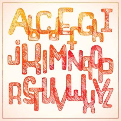 Fototapet Hand skriva röd alfabetet