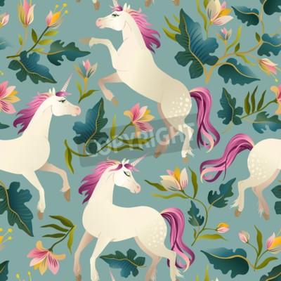 Fototapet Handdragen vintage Unicorn i magisk skog sömlös mönster. Vektor illustration.