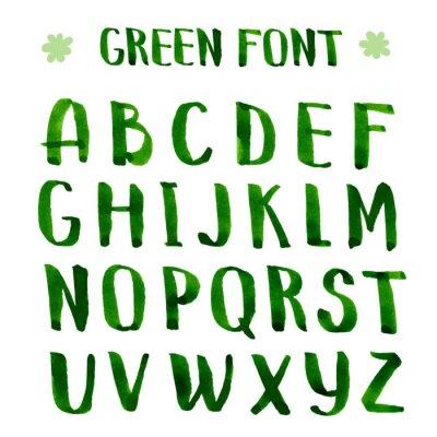 Fototapet Handgjorda bläck grön alfabetet.