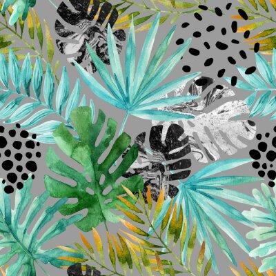 Fototapet Handritad abstrakt tropisk sommarbakgrund