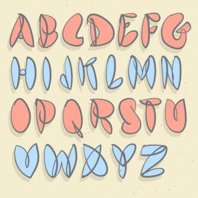 Fototapet Handritad alfabetet. Hand borstad forcerad Bubble alfabetet.