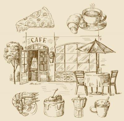 Fototapet handritad cafe