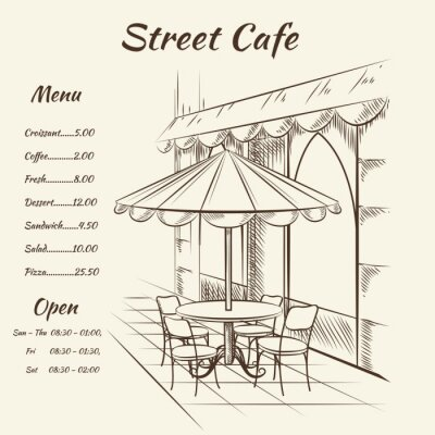 Fototapet Handritad street cafe bakgrund