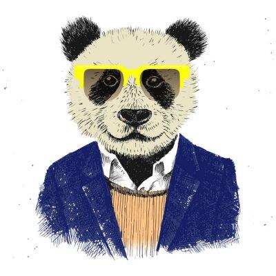 Fototapet Handritad utklädd hipster panda