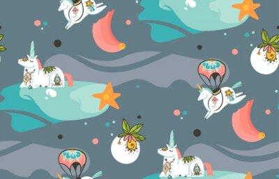 Fototapet Handritad vektor abstrakt grafisk kreativ tecknad illustrationer sömlös mönster med kosmonaut enhörningar med gammal skola tatuering, kometer och planeter i kosmos isolerad på mörk bakgrund
