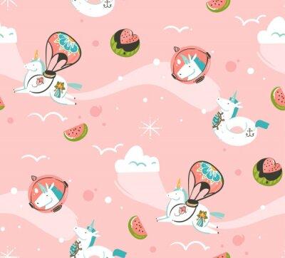 Fototapet Handritad vektor abstrakt grafisk kreativ tecknad illustrationer sömlös mönster med kosmonaut enhörningar med gammal skola tatuering, kometer och planeter i kosmos isolerad på rosa bakgrund