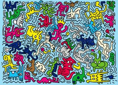 Fototapet Handritad vektorillustration av Doodle roliga djur, illustratör linje verktyg ritning, platt design