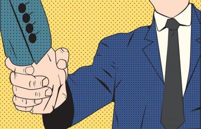Fototapet Handskakning affärsman retrostil popkonst