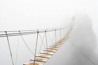 Fototapet Hanging bridge in fog