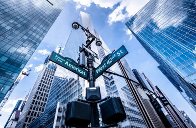 Fototapet Hänvisningsskyltar i New York
