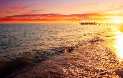Fototapet havet och solnedgången