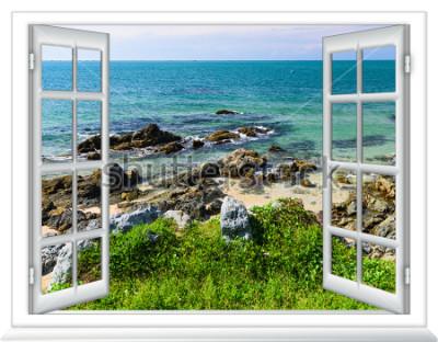 Fototapet havsutsikt från fönstret på ön solig sommardag
