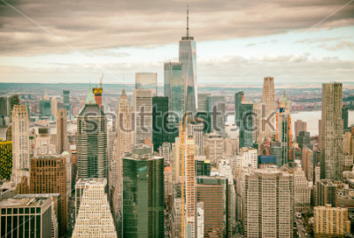 Fototapet Helicopter view of Downtown Manhattan skyscrapers, New York City.