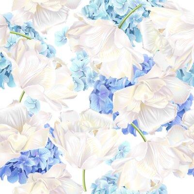 Fototapet Hidrangea tulpanblå mönster