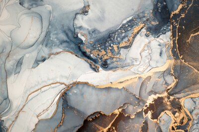 Fototapet High resolution. Luxury abstract fluid art painting in alcohol ink technique, mixture of dark blue, gray and gold paints. Imitation of marble stone cut, glowing golden veins. Tender and dreamy design.