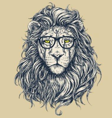 Fototapet Hipster lejon vektor illustration. Glas separerade.