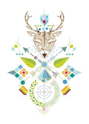 Fototapet Hirschjagd - Grafisches Muster mit Hirschkopf, Zielscheibe, Pfeile, Blätter und Blüten