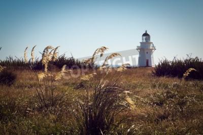 Fototapet Historiska fyr på Waipapa Point, Catlins, Nya Zeeland. tappning Filter