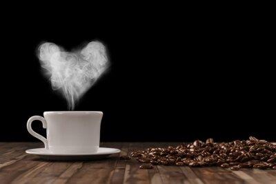 Fototapet Hjärta av ånga över kaffe