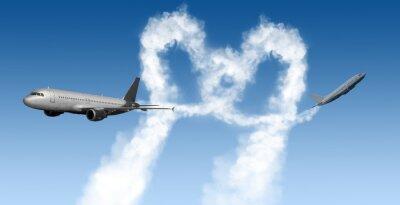 Fototapet hjärta form spår från flygplan på blå