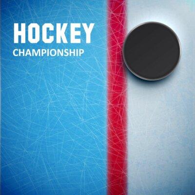 Fototapet Hockey puck isolerat på is ovanifrån