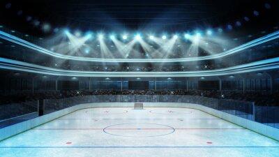 Fototapet hockey stadion med åskådare och en tom isbana
