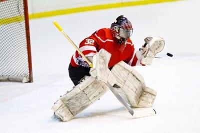 Fototapet Hockeygoalie i generisk röd utrustning skyddar gate