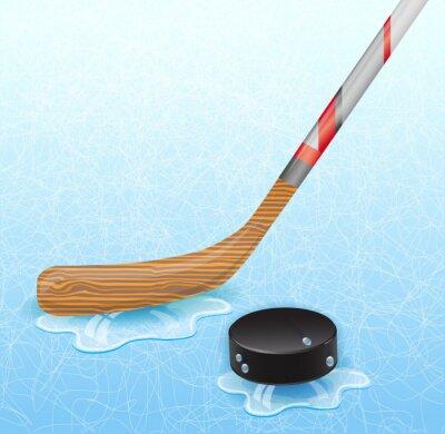Fototapet Hockeyklubba och hockey puck. Illustration 10 version.